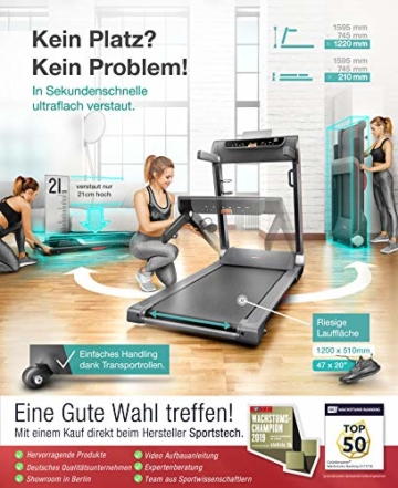 Sportstech FX300 Ultra Slim Laufband Easy-Folding+ kein Aufbau+ Riesige Lauffläche 510x1220mm, 16 km/h+ App, USB Ladeport, Tablet-Holder, Heimtrainer klappbar, Pulsgurt kompatibel für Cardio Training -